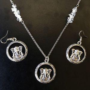 Ganesh elephant quartz crystal necklace earrings